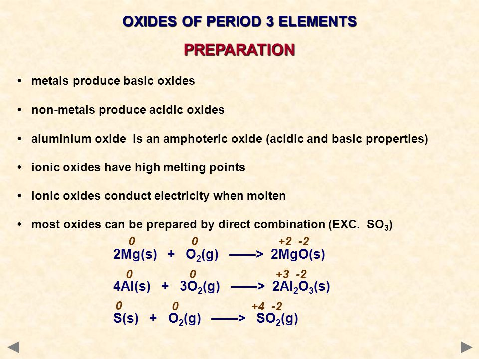 metals produce basic oxides non-metals produce acidic oxides aluminium oxide is an amphoteric oxide (acidic and basic properties) ionic oxides have high melting points ionic oxides conduct electricity when molten most oxides can be prepared by direct combination (EXC.