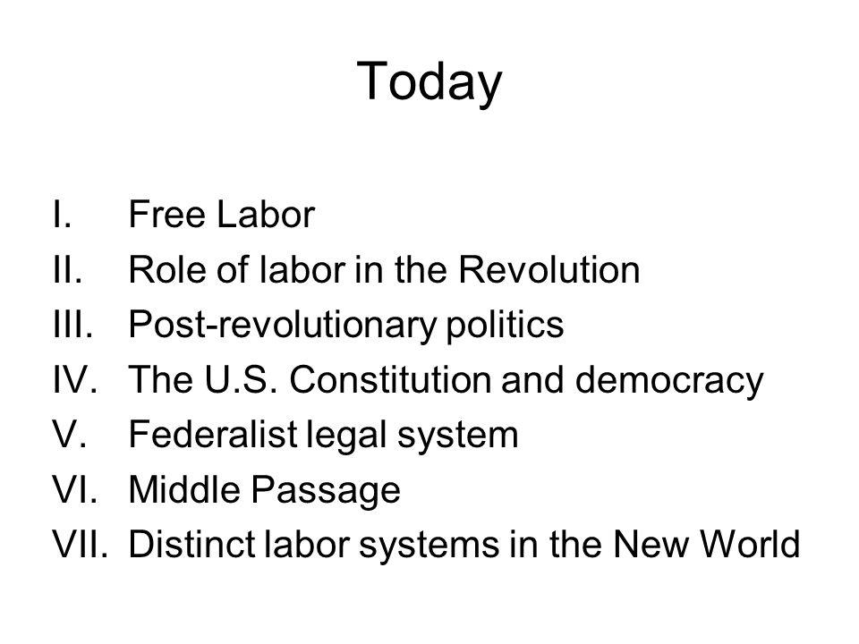 Today I.Free Labor II.Role of labor in the Revolution III.Post-revolutionary politics IV.The U.S.