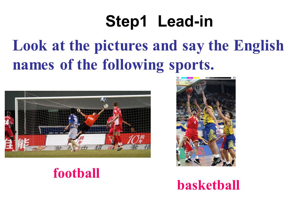 Look at the pictures and say the English names of the following sports.
