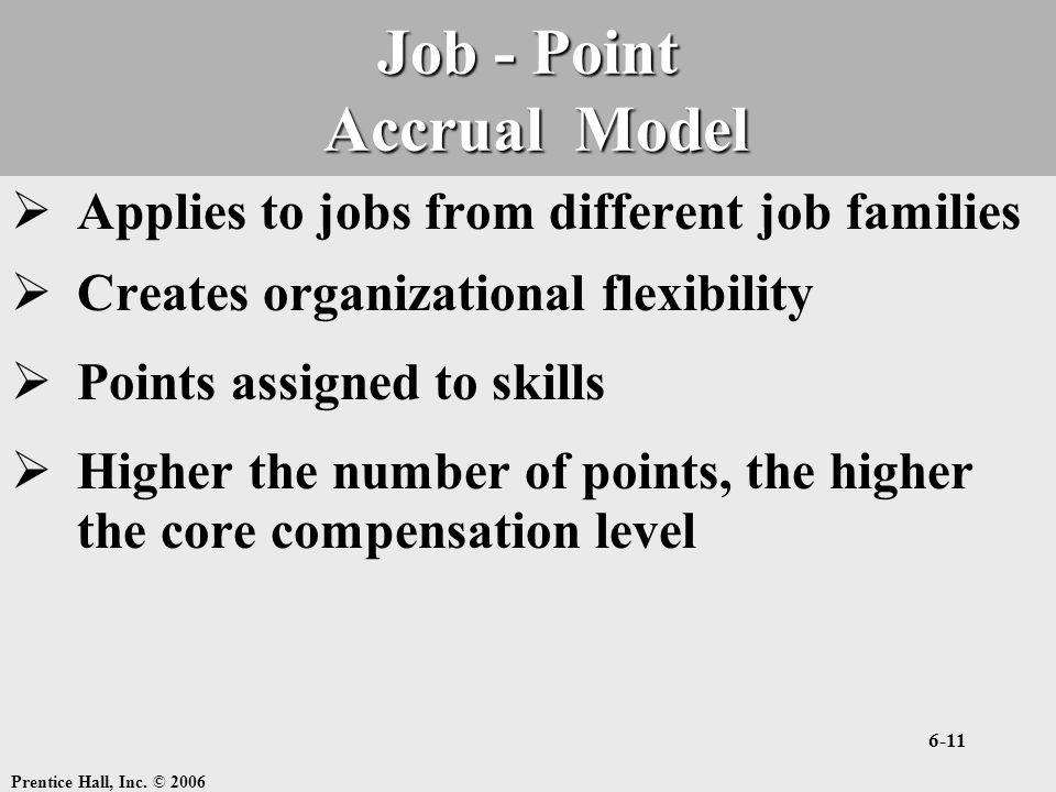 Prentice Hall, Inc. © 2006 6-11 Job - Point Accrual Model  Applies to jobs from different job families  Creates organizational flexibility  Points