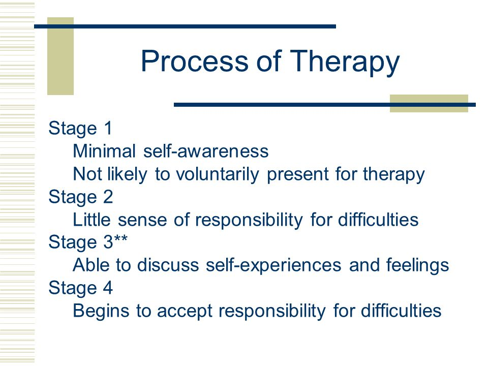 Process of Therapy Stage 1 Minimal self-awareness Not likely to voluntarily present for therapy Stage 2 Little sense of responsibility for difficulties Stage 3** Able to discuss self-experiences and feelings Stage 4 Begins to accept responsibility for difficulties