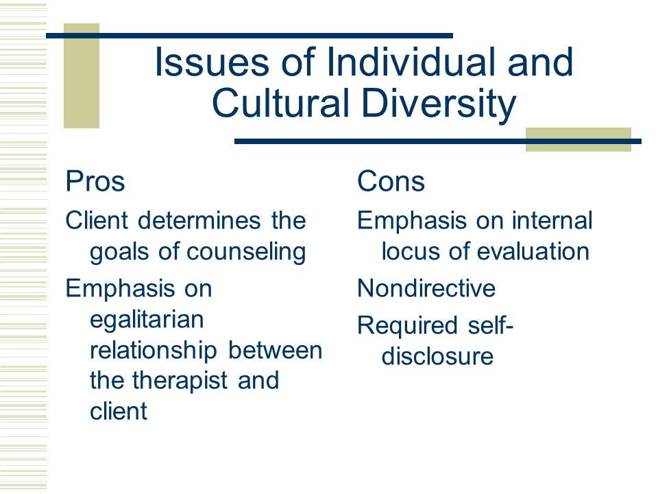 Issues of Individual and Cultural Diversity Pros Client determines the goals of counseling Emphasis on egalitarian relationship between the therapist and client Cons Emphasis on internal locus of evaluation Nondirective Required self- disclosure
