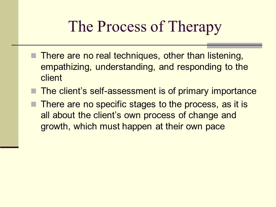 The Process of Therapy There are no real techniques, other than listening, empathizing, understanding, and responding to the client The client's self-