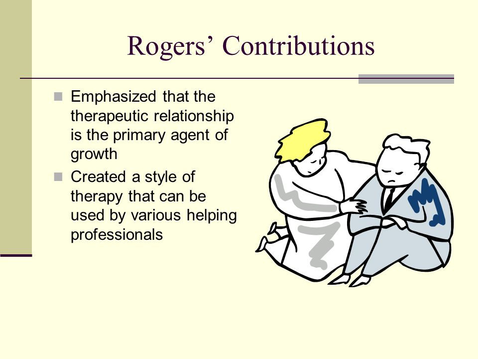 Rogers' Contributions Emphasized that the therapeutic relationship is the primary agent of growth Created a style of therapy that can be used by vario