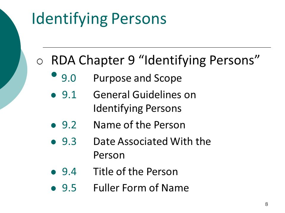 19 Occupation (RDA 9.16) Field of Activity (RDA 9.15)  Core: If name does not convey the idea of a person LC policy: cataloger judgment choice to distinguish one person from another with the same name  Some overlap in examples for two elements -- to be discussed by JSC in November 2011  MARC 21 X00 $c – always in parentheses: 100 1 $a Cavaliere, Alfonso $c (Physicist)