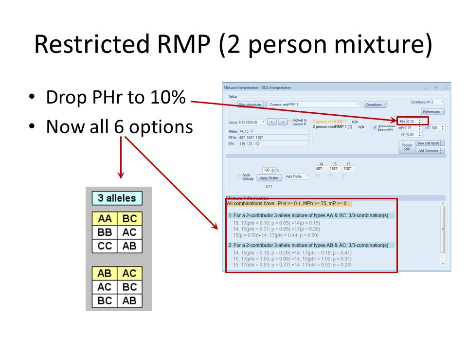 Restricted RMP (2 person mixture) Possible types: – AA & BC only 1/3 and – AB & BC only 2/3 and 14, 1715, 17 14, 1515, 17 14, 1415, 17   Locus, alleles and frequencies 2qr p 2 + p(1-p)Θ 2pq 2pr RMP for this pattern for all three population groups On the stat page you'll see a line like this