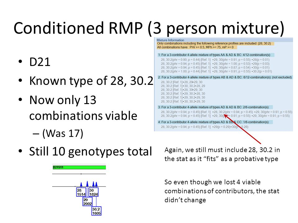 Conditioned RMP (3 person mixture) D8 – 10, 13 type assumed Those 16 combinations still have 10 genotypes – The same 10 genotypes – The stat didn't ch