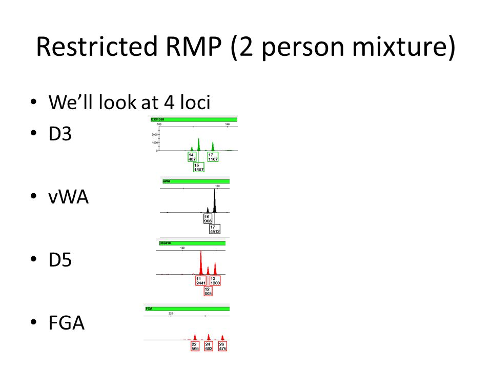 "Restricted RMP (2 person mixture) This is still just the RMP stat We have adopted the term ""Restricted"" RMP because we are restricting the genotypes c"