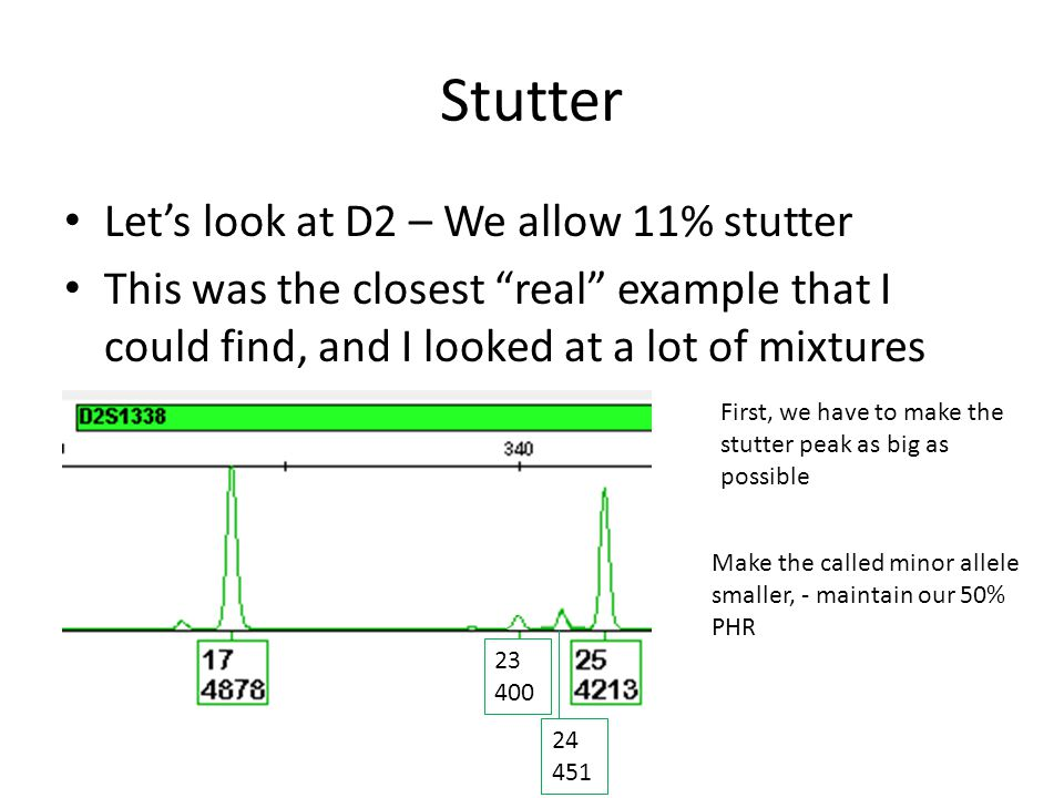 Stutter In fact, this is so rare, that I couldn't find an example to show you So I had to fake this data that you're about to see We can use ArmedXpert to test this theory by editing the profile and adding the filtered allele stutter data to the locus of concern – First, we make a copy of the profile from the table – Then, edit the copy and test the stutter correction