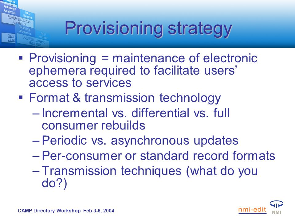 CAMP Directory Workshop Feb 3-6, 2004 Provisioning strategy  Provisioning = maintenance of electronic ephemera required to facilitate users' access to services  Format & transmission technology –Incremental vs.