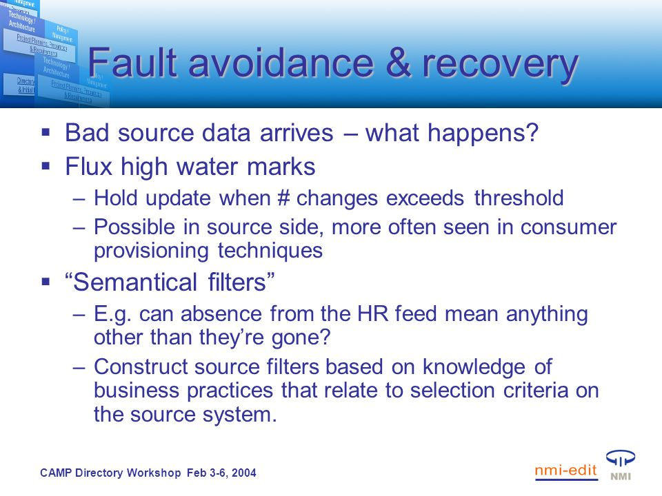 CAMP Directory Workshop Feb 3-6, 2004 Fault avoidance & recovery  Bad source data arrives – what happens.