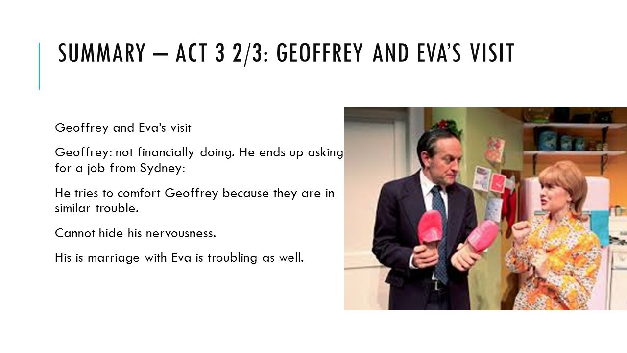 SUMMARY – ACT 3 2/3: GEOFFREY AND EVA'S VISIT Geoffrey and Eva's visit Geoffrey: not financially doing.