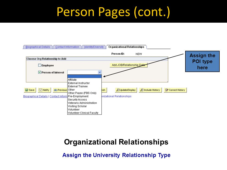 Person Pages (cont.) Organizational Relationships Assign the University Relationship Type Assign the POI type here