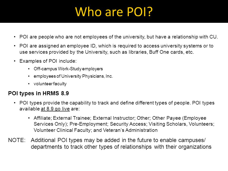 Who are POI.