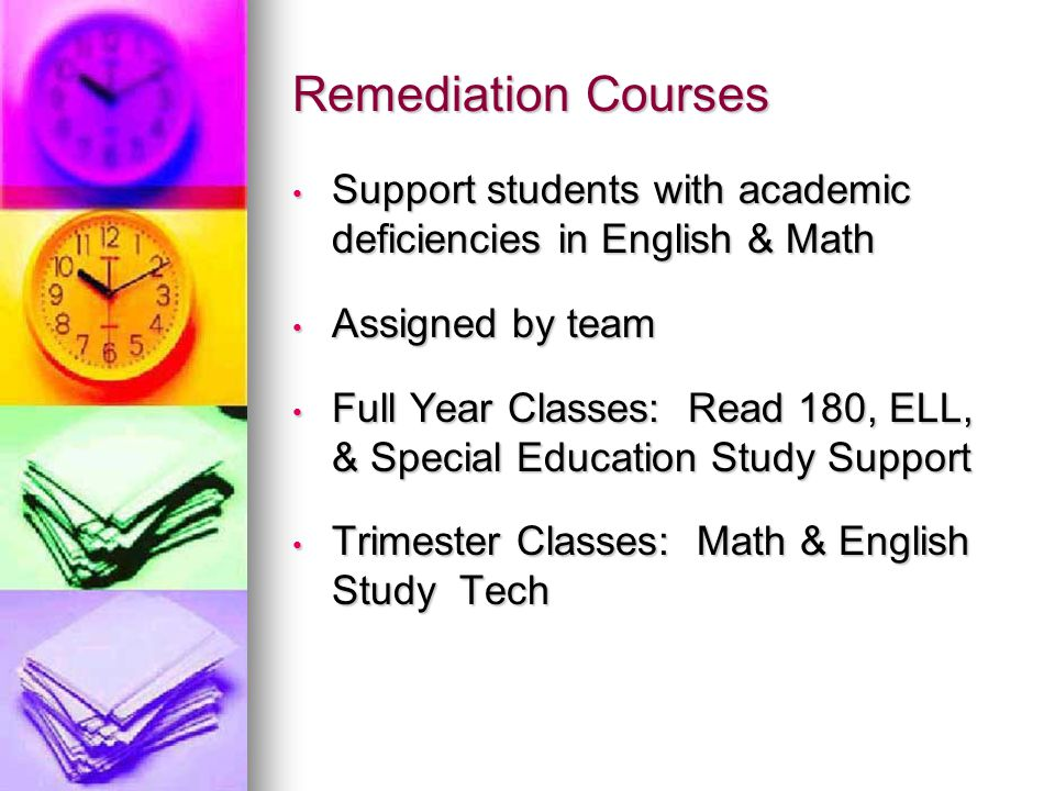 Remediation Courses Support students with academic deficiencies in English & Math Support students with academic deficiencies in English & Math Assigned by team Assigned by team Full Year Classes: Read 180, ELL, & Special Education Study Support Full Year Classes: Read 180, ELL, & Special Education Study Support Trimester Classes: Math & English Study Tech Trimester Classes: Math & English Study Tech