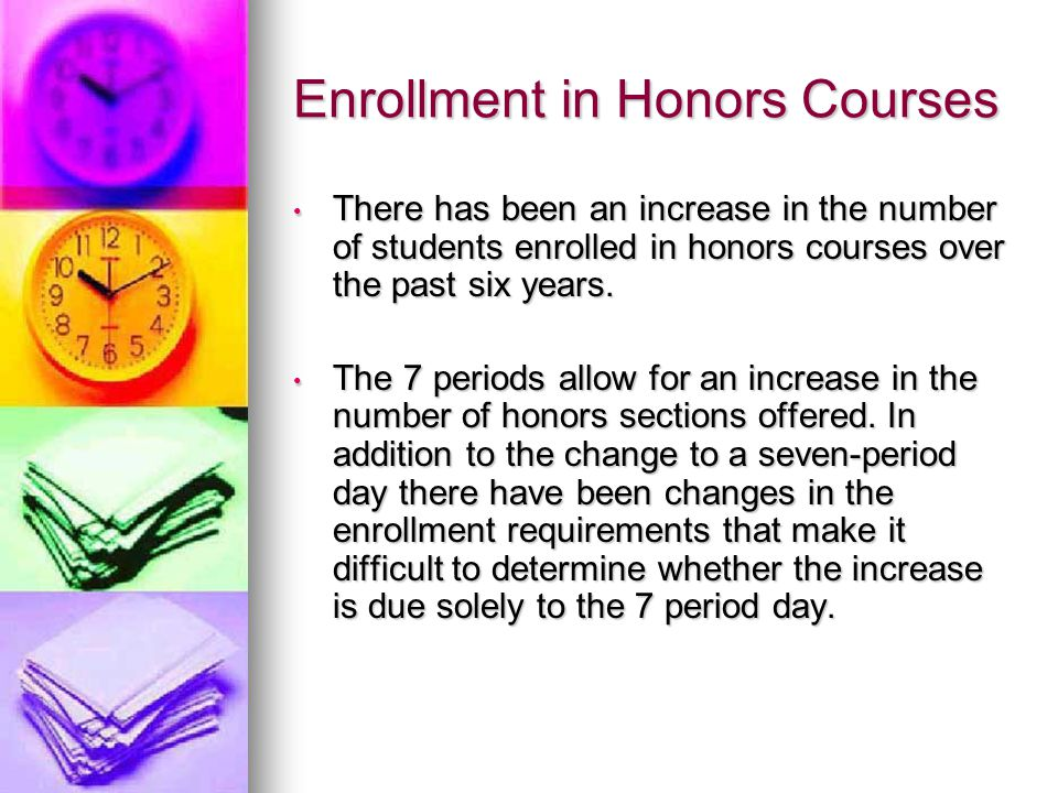 Enrollment in Honors Courses There has been an increase in the number of students enrolled in honors courses over the past six years.