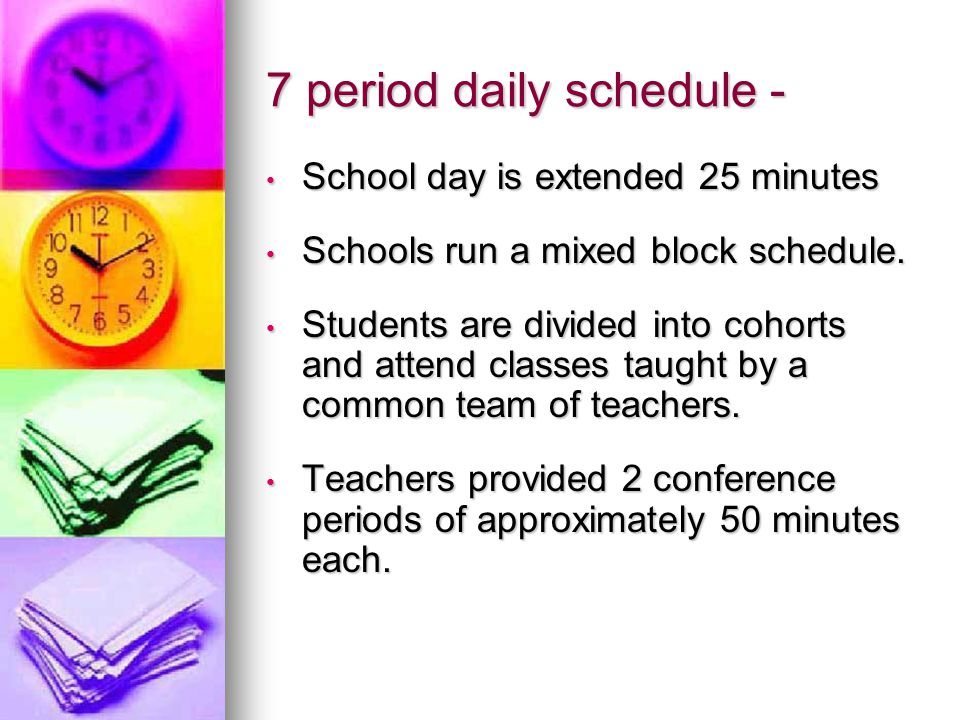 7 period daily schedule - School day is extended 25 minutes School day is extended 25 minutes Schools run a mixed block schedule.