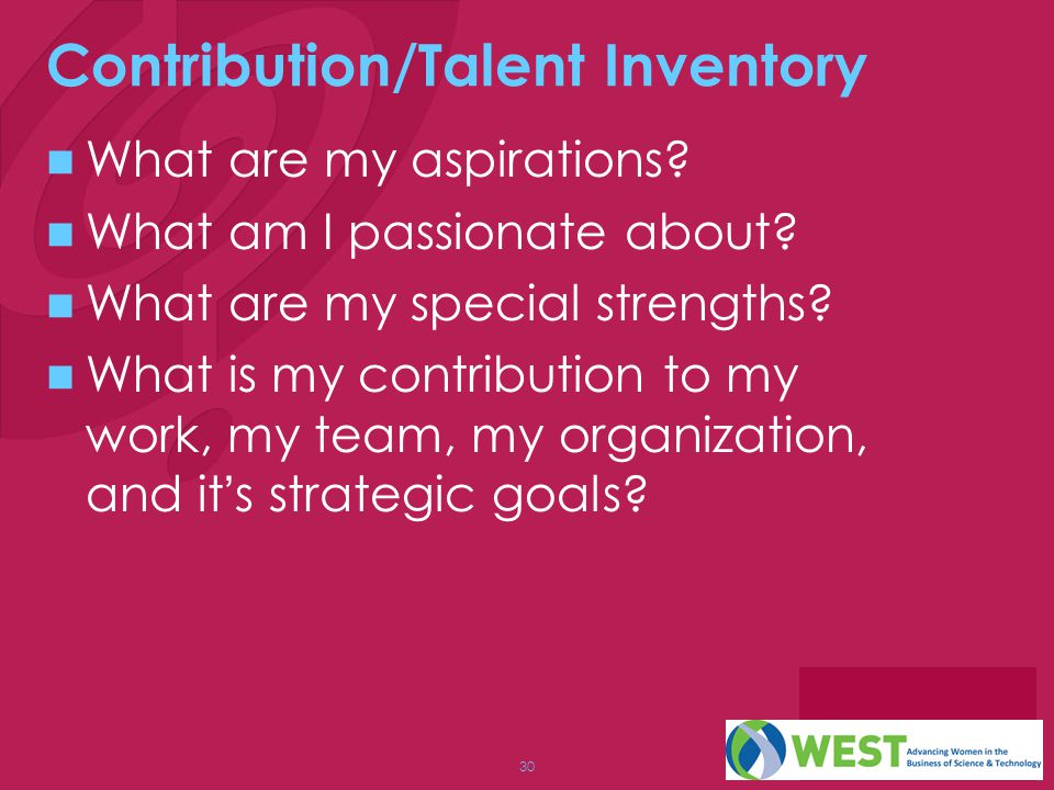 30 Contribution/Talent Inventory What are my aspirations.