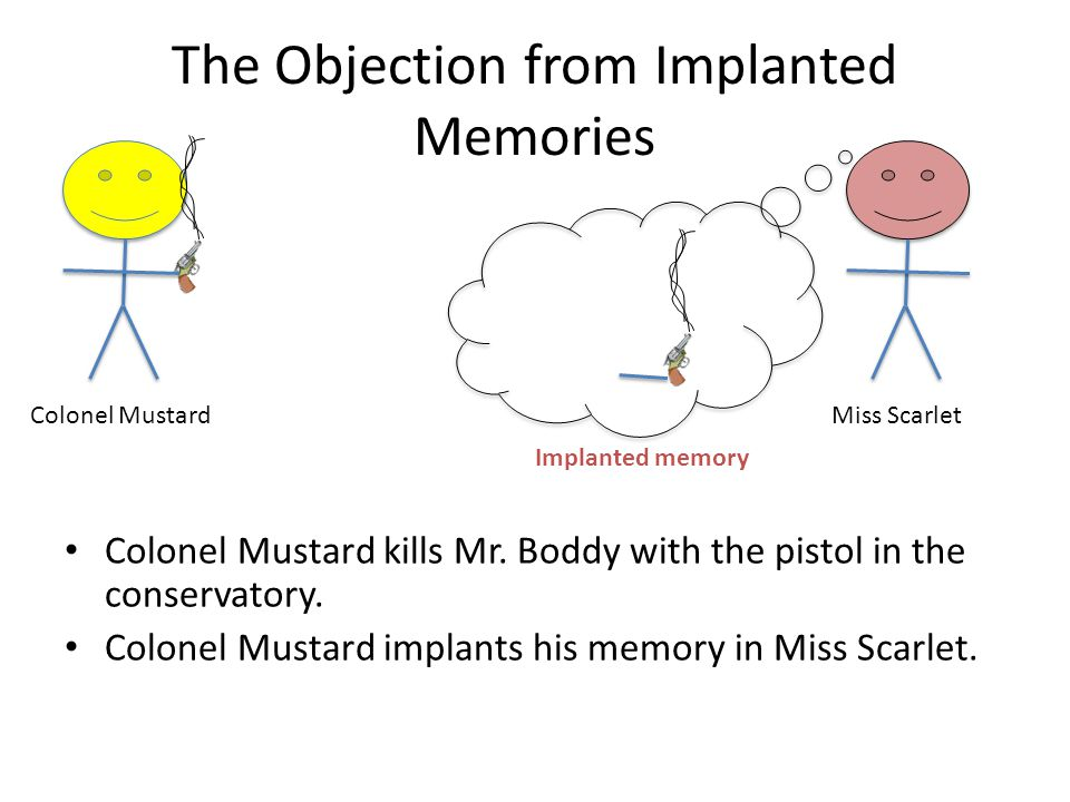 The Objection from Implanted Memories Colonel Mustard kills Mr.