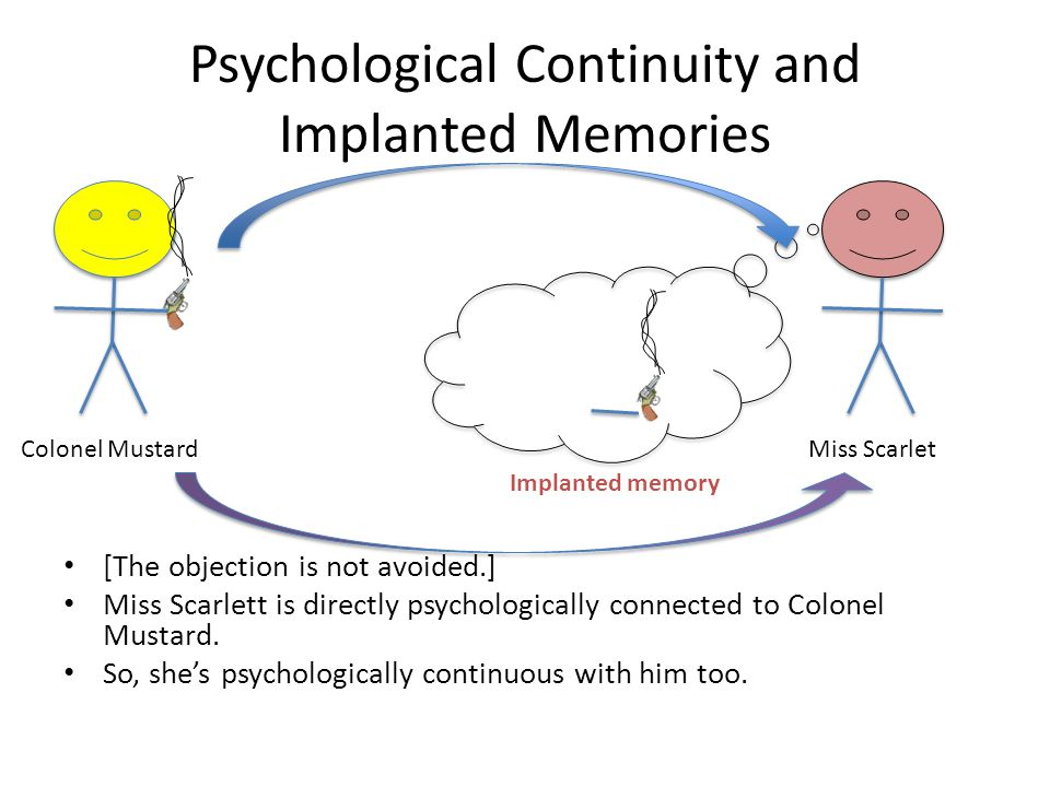 Psychological Continuity and Implanted Memories [The objection is not avoided.] Miss Scarlett is directly psychologically connected to Colonel Mustard.