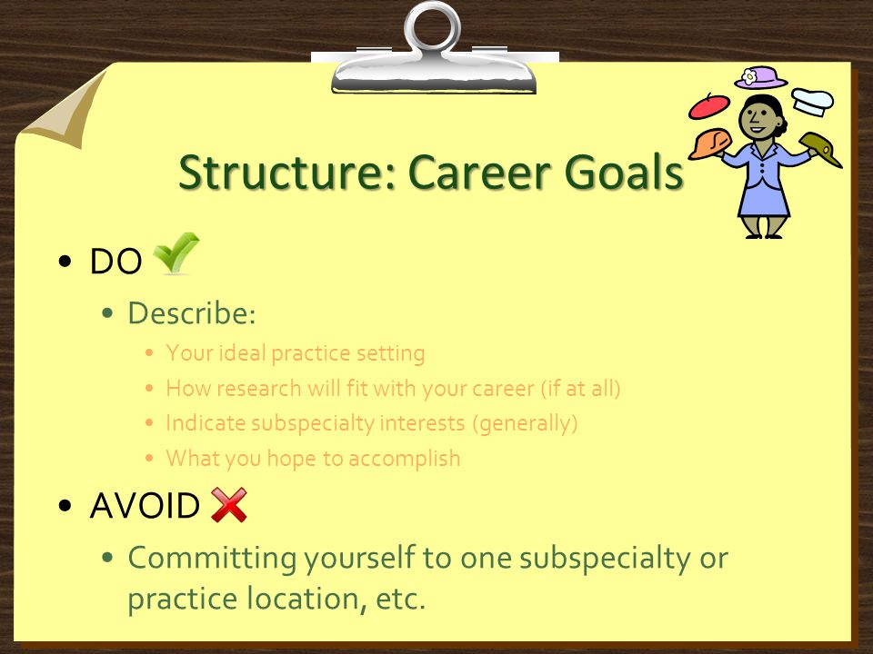 Structure: Career Goals DO Describe: Your ideal practice setting How research will fit with your career (if at all) Indicate subspecialty interests (generally) What you hope to accomplish AVOID Committing yourself to one subspecialty or practice location, etc.