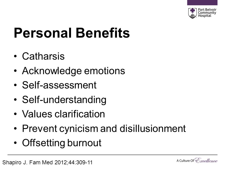 Personal Benefits Catharsis Acknowledge emotions Self-assessment Self-understanding Values clarification Prevent cynicism and disillusionment Offsetti