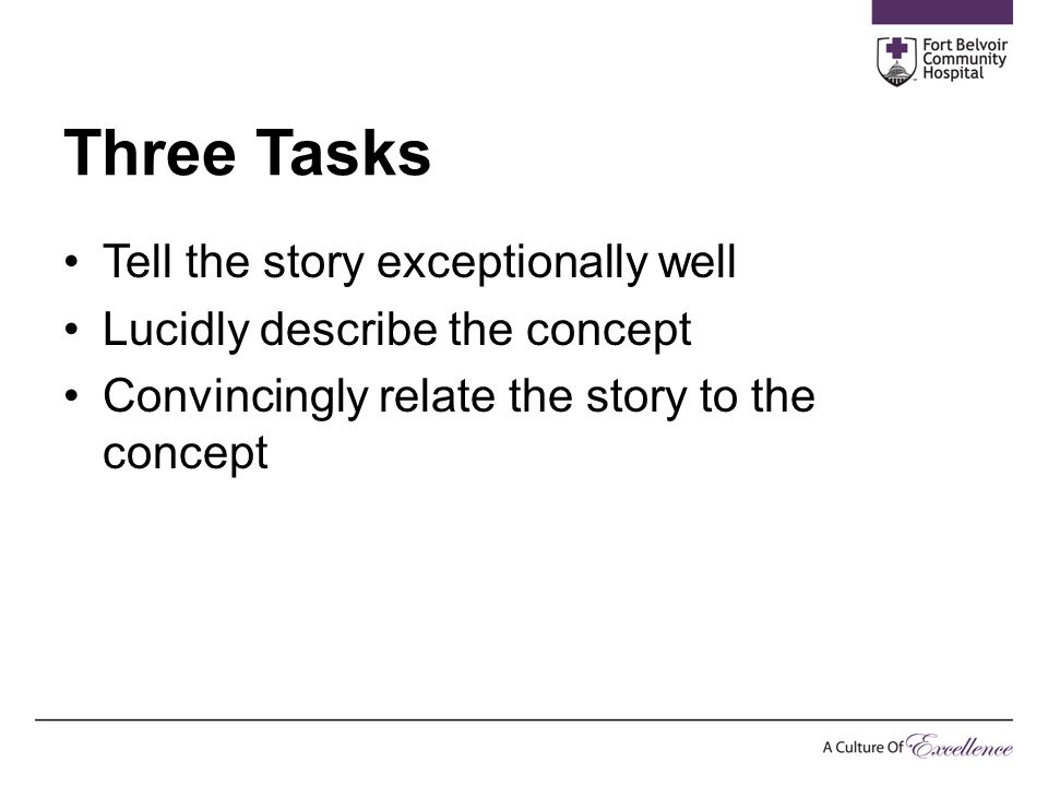 Three Tasks Tell the story exceptionally well Lucidly describe the concept Convincingly relate the story to the concept