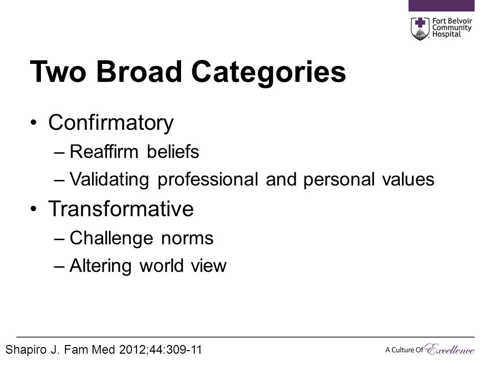 Two Broad Categories Confirmatory –Reaffirm beliefs –Validating professional and personal values Transformative –Challenge norms –Altering world view