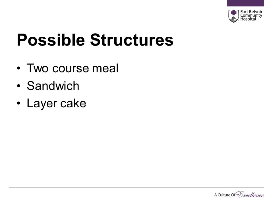 Possible Structures Two course meal Sandwich Layer cake