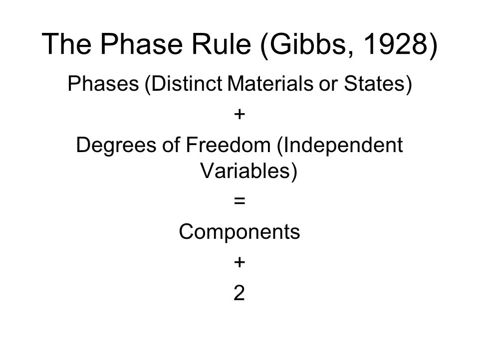 The Phase Rule (Gibbs, 1928) Phases (Distinct Materials or States) + Degrees of Freedom (Independent Variables) = Components + 2