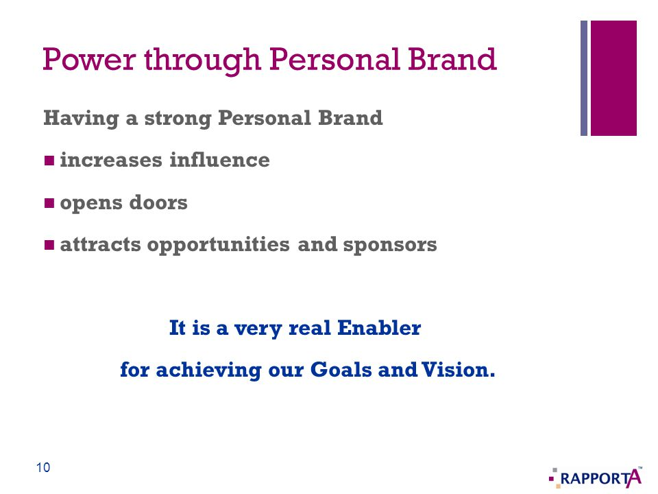 Power through Personal Brand Having a strong Personal Brand increases influence opens doors attracts opportunities and sponsors It is a very real Enab