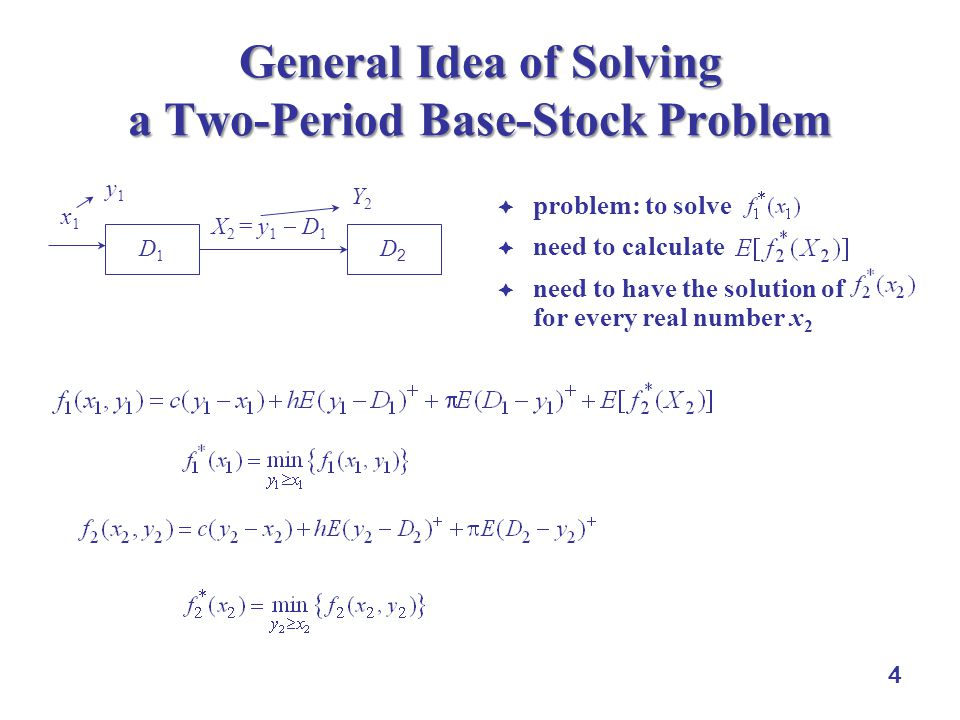 4 General Idea of Solving a Two-Period Base-Stock Problem  problem: to solve  need to calculate  need to have the solution of for every real number