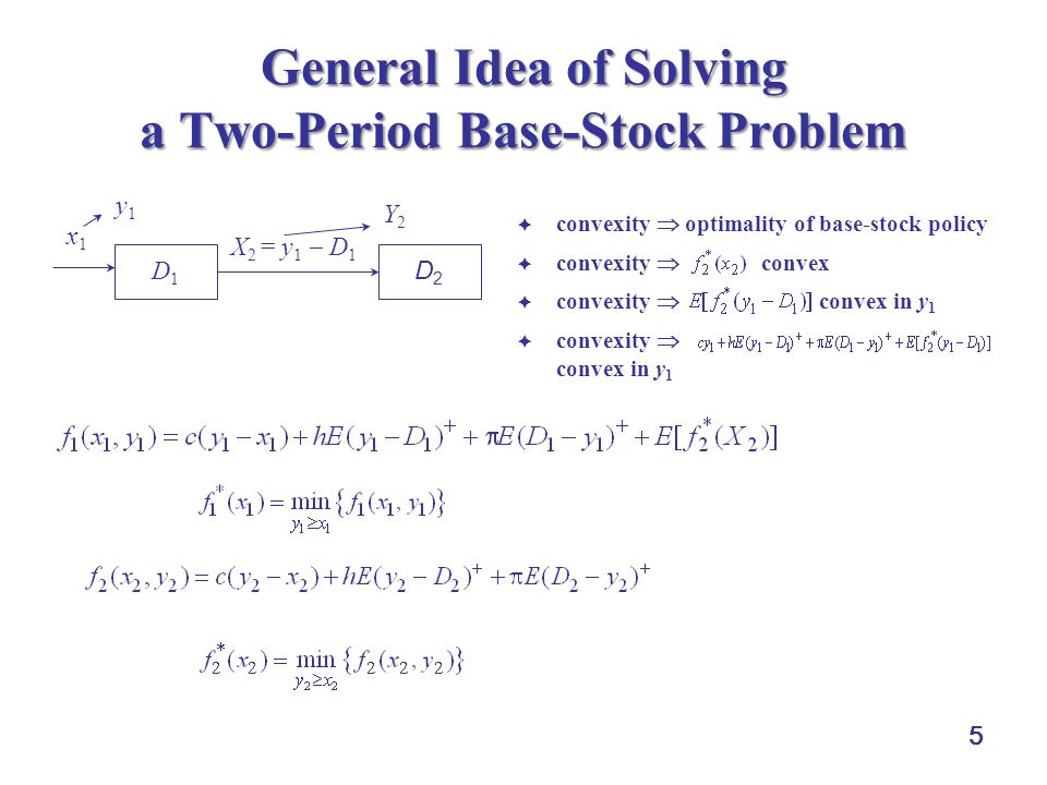 5 General Idea of Solving a Two-Period Base-Stock Problem  convexity  optimality of base-stock policy  convexity  convex  convexity  convex in y