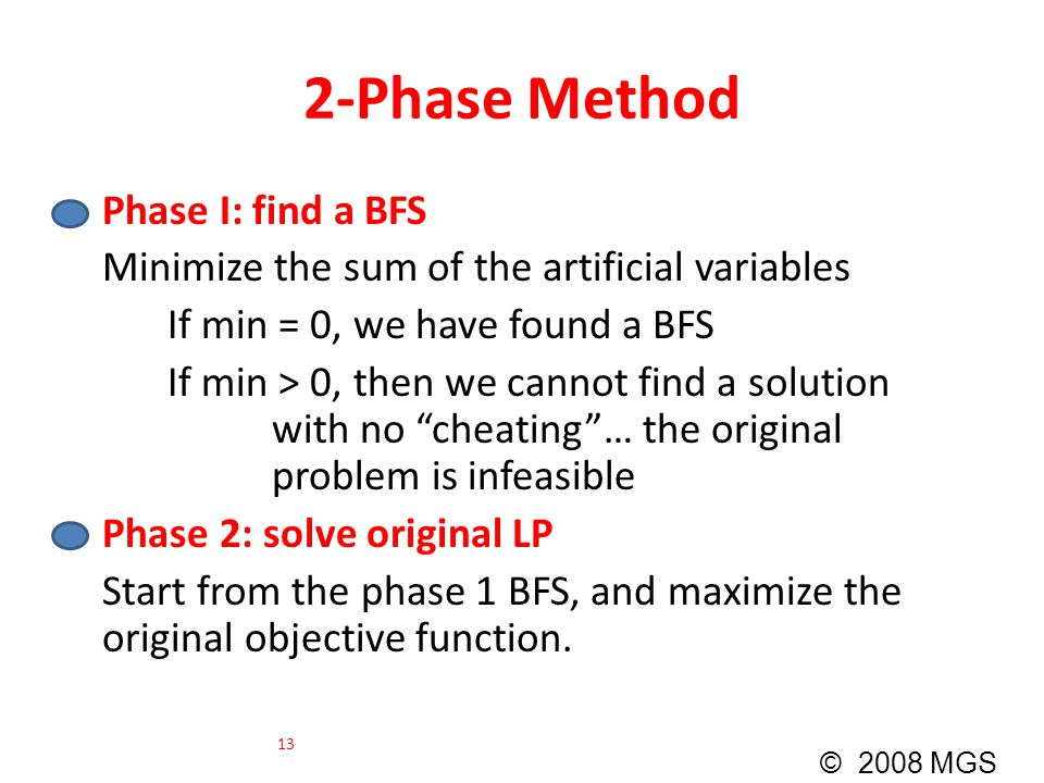 2-Phase Method Phase I: find a BFS Minimize the sum of the artificial variables If min = 0, we have found a BFS If min > 0, then we cannot find a solu