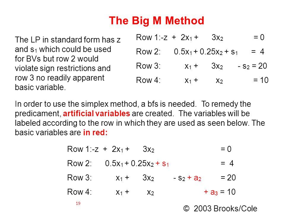 The Big M Method Row 1:-z + 2x 1 + 3x 2 = 0 Row 2: 0.5x 1 + 0.25x 2 + s 1 = 4 Row 3: x 1 + 3x 2 - s 2 = 20 Row 4: x 1 + x 2 = 10 The LP in standard fo