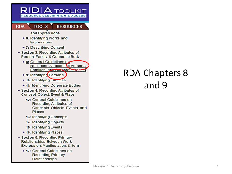 Constructing Authorized Access Points (RDA 9.19.1) Use the preferred name as the basis (see RDA 9.2.2) Additions to the name  Always make additions specified in RDA 9.19.1.1, RDA 9.19.1.2.1-5, and RDA 9.19.1.3  The additions specified in RDA 9.19.1.2.6 and 9.19.1.4-9.19.1.7 are required only if need to distinguish 73Module 2.
