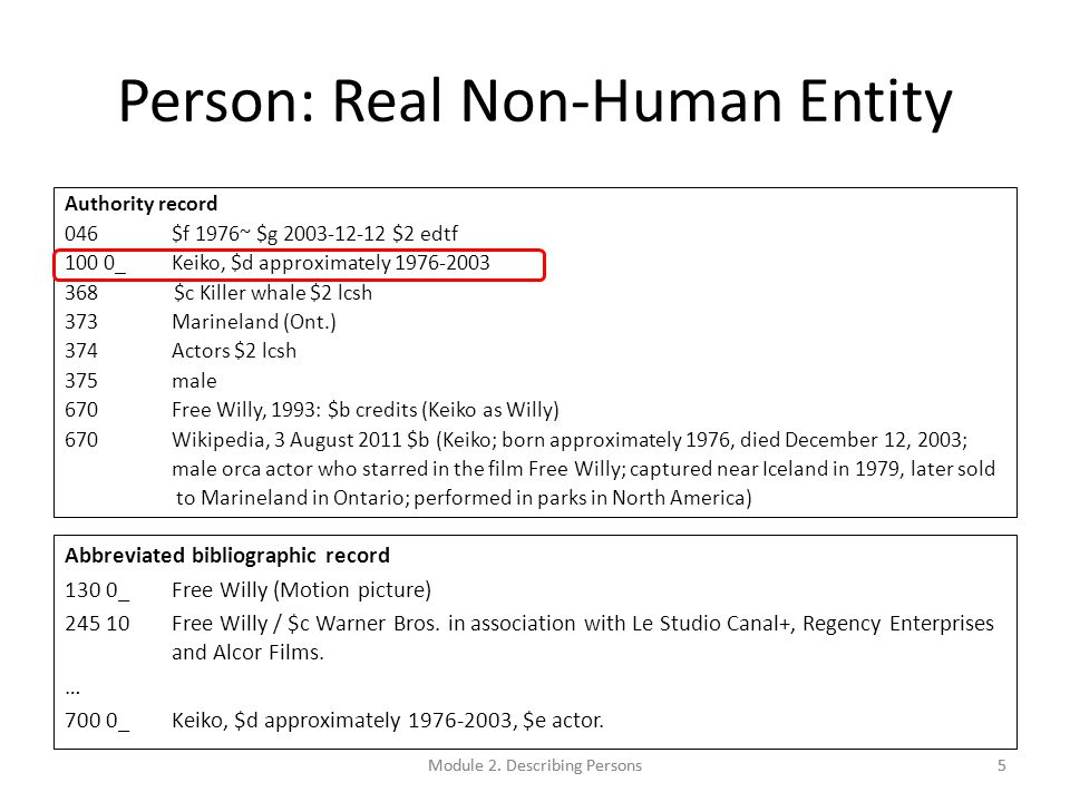 Person: Real Non-Human Entity Authority record 046$f 1976~ $g 2003-12-12 $2 edtf 100 0_Keiko, $d approximately 1976-2003 368 $c Killer whale $2 lcsh 373Marineland (Ont.) 374Actors $2 lcsh 375male 670Free Willy, 1993: $b credits (Keiko as Willy) 670Wikipedia, 3 August 2011 $b (Keiko; born approximately 1976, died December 12, 2003; male orca actor who starred in the film Free Willy; captured near Iceland in 1979, later sold to Marineland in Ontario; performed in parks in North America) Abbreviated bibliographic record 130 0_Free Willy (Motion picture) 245 10Free Willy / $c Warner Bros.