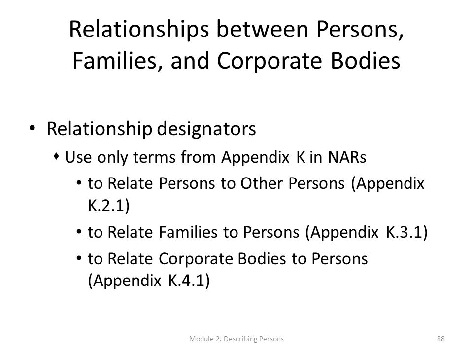 Relationships between Persons, Families, and Corporate Bodies Relationship designators  Use only terms from Appendix K in NARs to Relate Persons to Other Persons (Appendix K.2.1) to Relate Families to Persons (Appendix K.3.1) to Relate Corporate Bodies to Persons (Appendix K.4.1) 88Module 2.