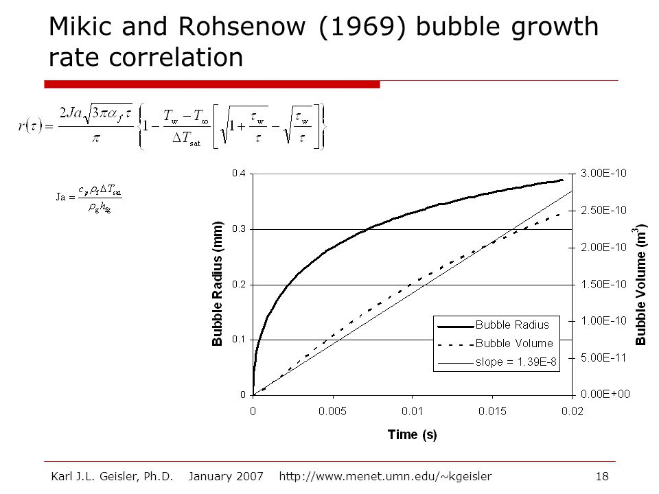 Karl J.L. Geisler, Ph.D. January 2007 http://www.menet.umn.edu/~kgeisler18 Mikic and Rohsenow (1969) bubble growth rate correlation