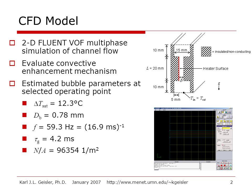 Karl J.L. Geisler, Ph.D. January 2007 http://www.menet.umn.edu/~kgeisler2 CFD Model  2-D FLUENT VOF multiphase simulation of channel flow  Evaluate