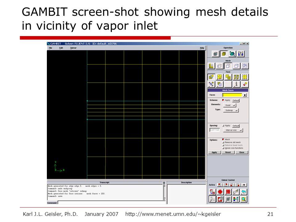 Karl J.L. Geisler, Ph.D. January 2007 http://www.menet.umn.edu/~kgeisler21 GAMBIT screen-shot showing mesh details in vicinity of vapor inlet