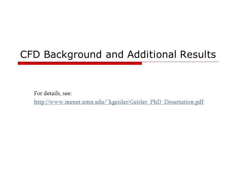 CFD Background and Additional Results For details, see: http://www.menet.umn.edu/~kgeisler/Geisler_PhD_Dissertation.pdf