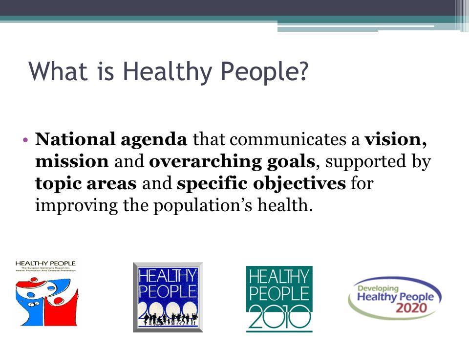 Aligned Effort Strategic Goals Healthy People Random Acts of Innovation Non-Aligned Effort Healthy People: Aligns Strategic Public Health Goals and Efforts Across the Nation