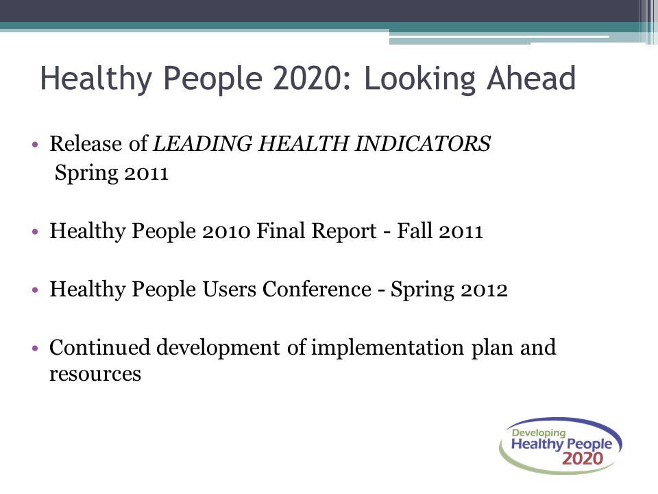 Healthy People 2020: Looking Ahead Release of LEADING HEALTH INDICATORS Spring 2011 Healthy People 2010 Final Report - Fall 2011 Healthy People Users