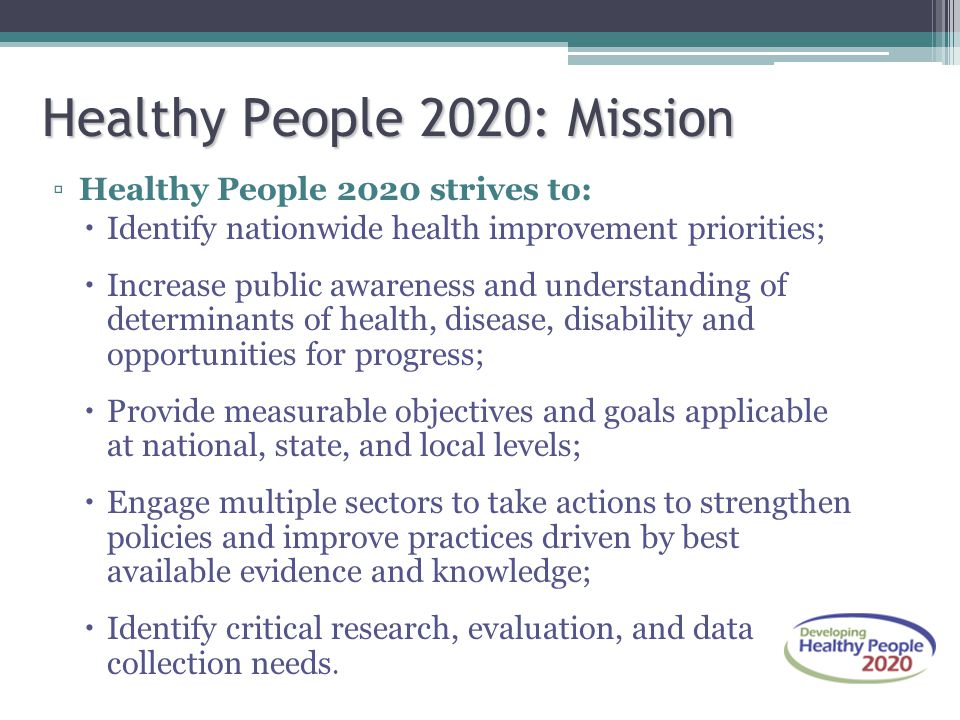 Healthy People 2020: Mission ▫Healthy People 2020 strives to:  Identify nationwide health improvement priorities;  Increase public awareness and und