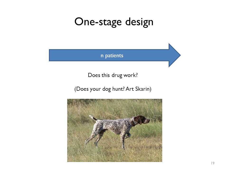 One-stage design 19 n patients Does this drug work? (Does your dog hunt? Art Skarin)