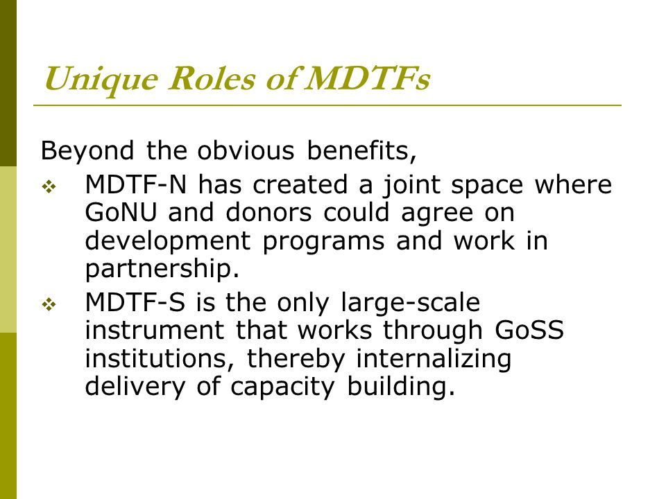 Unique Roles of MDTFs Beyond the obvious benefits,  MDTF-N has created a joint space where GoNU and donors could agree on development programs and work in partnership.