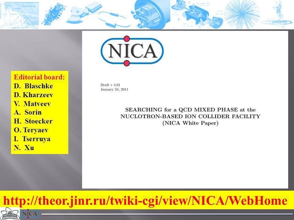 http://theor.jinr.ru/twiki-cgi/view/NICA/WebHome Editorial board: D.