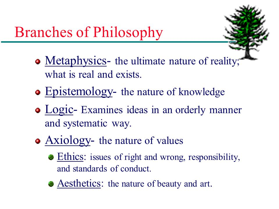 """Philosophy """"The love of wisdom"""" (Greek) A set of beliefs relating to a particular field. A system of values by which one lives and works. Helps indivi"""