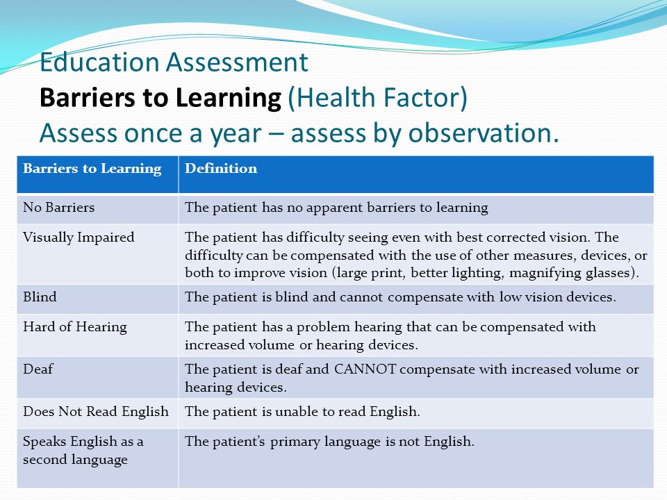 Education Assessment Barriers to Learning (Health Factor) Assess once a year – assess by observation.